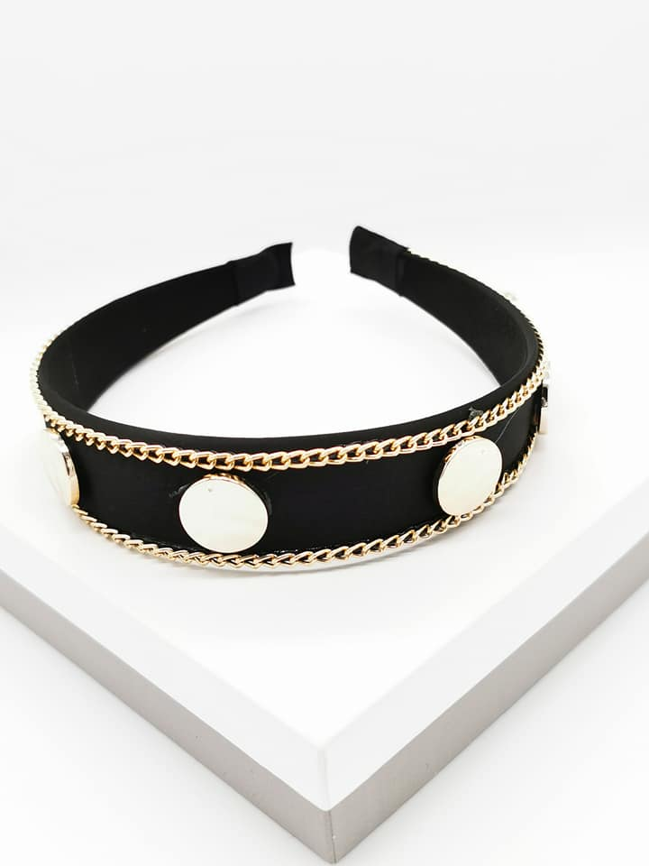 Callel Gold Coin Chain Knotted Headband