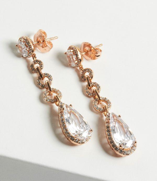 Callel Gold Luxury Cubic Zirconia Long Drop Earrings
