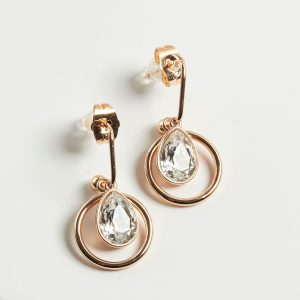 Drop Earrings Embellished With White Crystal From Swarovski