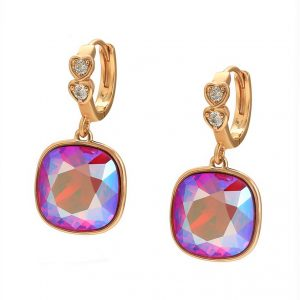 18K Gold Earrings Embellished With Rose Crystal From Swarovski