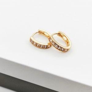 18K Gold Cubic Zirconia Huggie Hoop Earrings