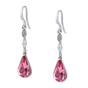 Silver Teardrop Earrings Embellished With Rose Colour Crystal From Swarovski