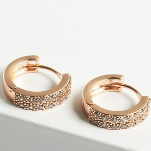 Cubic Zirconia Crystal Hoop Earrings