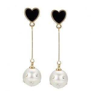 Long Drop Black Heart & Pearl Stud Earrings