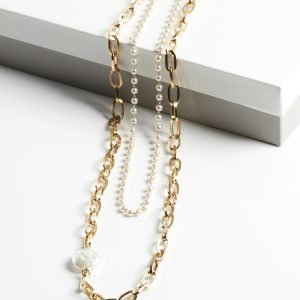 Double Layer Pearl and Heavy Chain Necklace