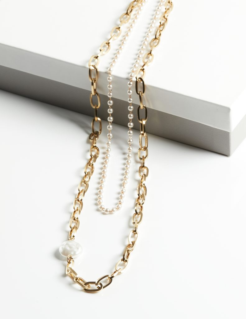 Callel Double Layer Pearl and Heavy Chain Necklace