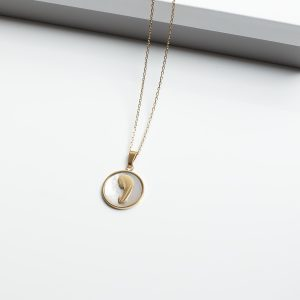 14K Gold Oval Mary Pendant Necklace