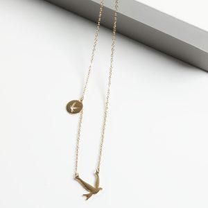 14K Gold 2 Swallow Birds On 14K Gold Celebrity Chain Necklace