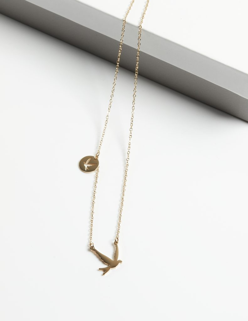 Callel 2 Swallow Birds On 14K Gold Chain Necklace