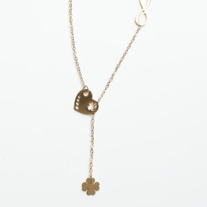 14K Gold Infinity & Heart & Four Leaf Clover Celebrity Chain Necklace
