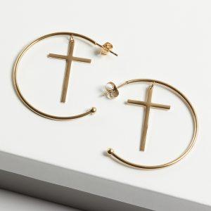 14K Gold Half Hoop Cross Earrings