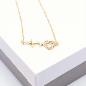 14K Gold Heartbeat Necklace