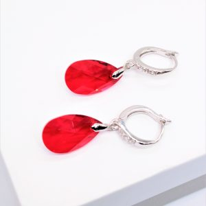 Silver Drop Dangle Earrings Embellished With Red Crystal From Swarovski
