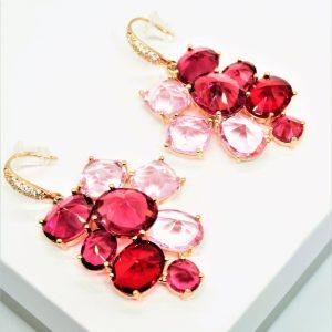 18K Gold Pink Cubic Zirconia Hook Earrings