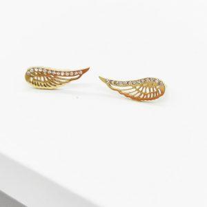 14K Gold Cubic Zirconia Angel Wing Hook Earrings