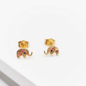 18K Gold Cubic Zirconia Elephant Stud Earrings