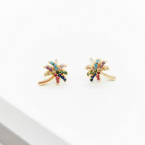 18K Gold Cubic Zriconia Multicoloured Palm Tree Stud Earrings