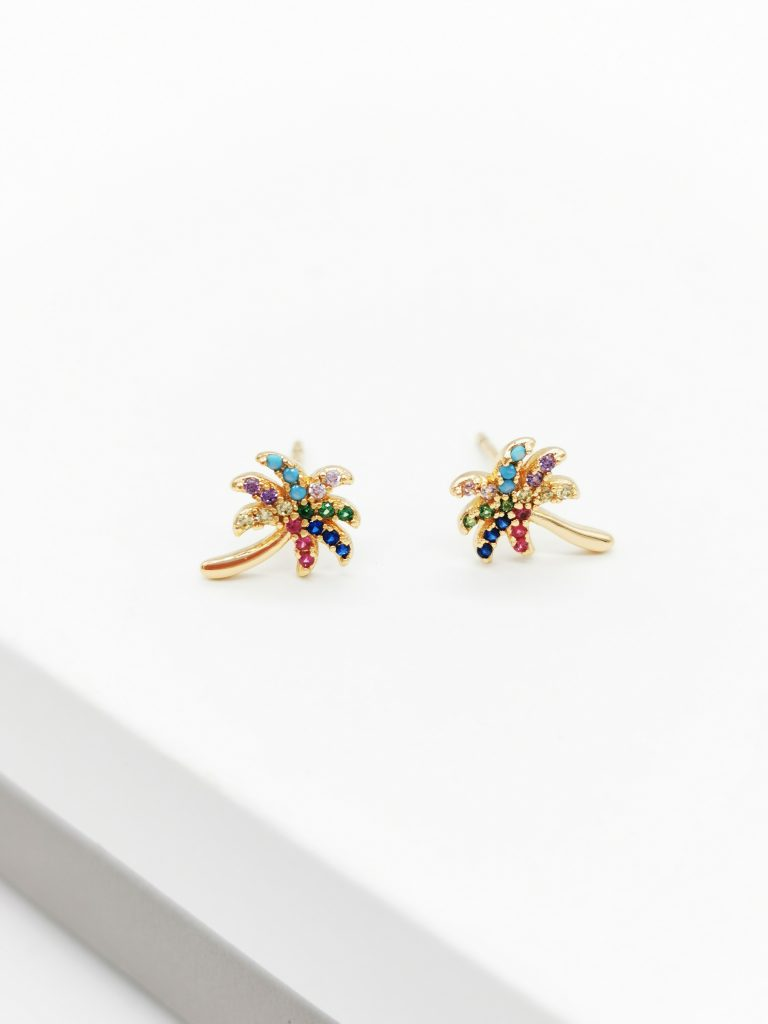 Callel 18 Gold Cubic Zriconia Multicoloured Palm Tree Stud Earrings