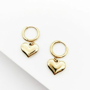 14K Gold Heart Huggie Drop Earrings