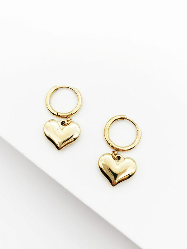 Callel 18k Heart Huggie Earrings