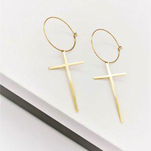 14K Gold Dangle Drop Cross Hoop Earrings