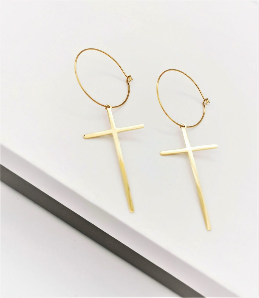 Callel Dangle Drop Cross Hoop Earrings