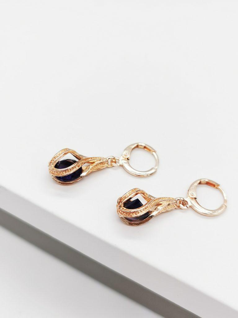 Callel Rose Gold Twisted Dangle Earrings