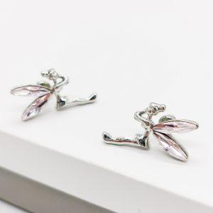 Pink Crystal Wing Fairy Stud Earrings