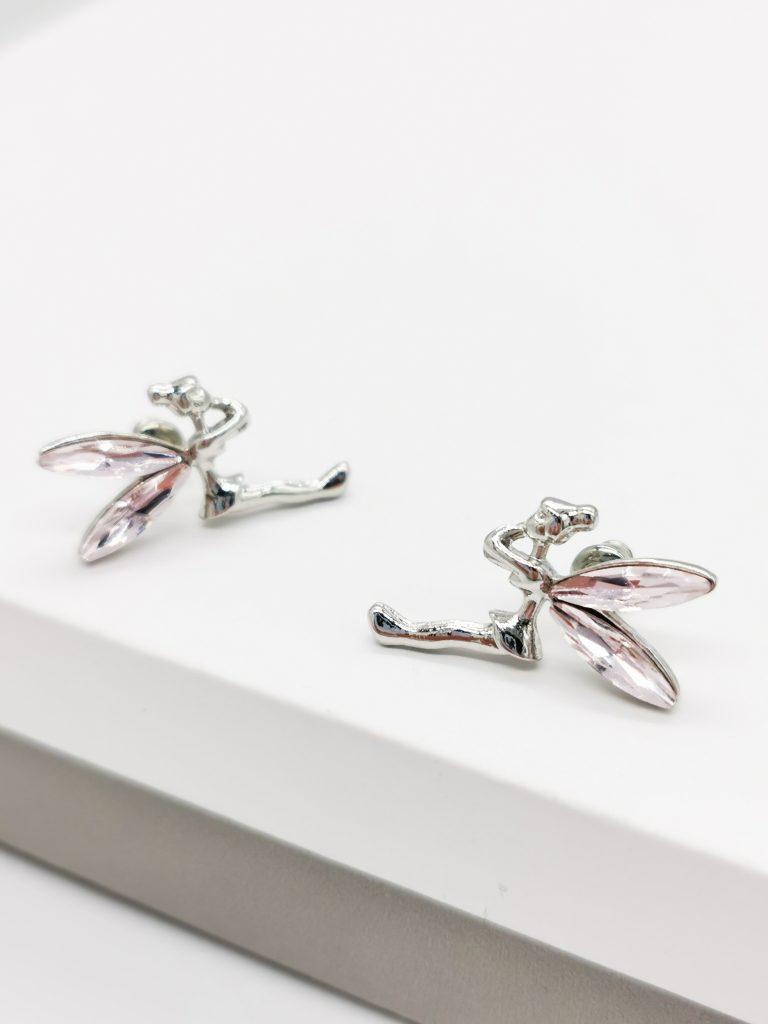Callel Pink Crystal Fairy Stud Earrings