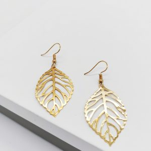 Gold Leaf Hook Earrings