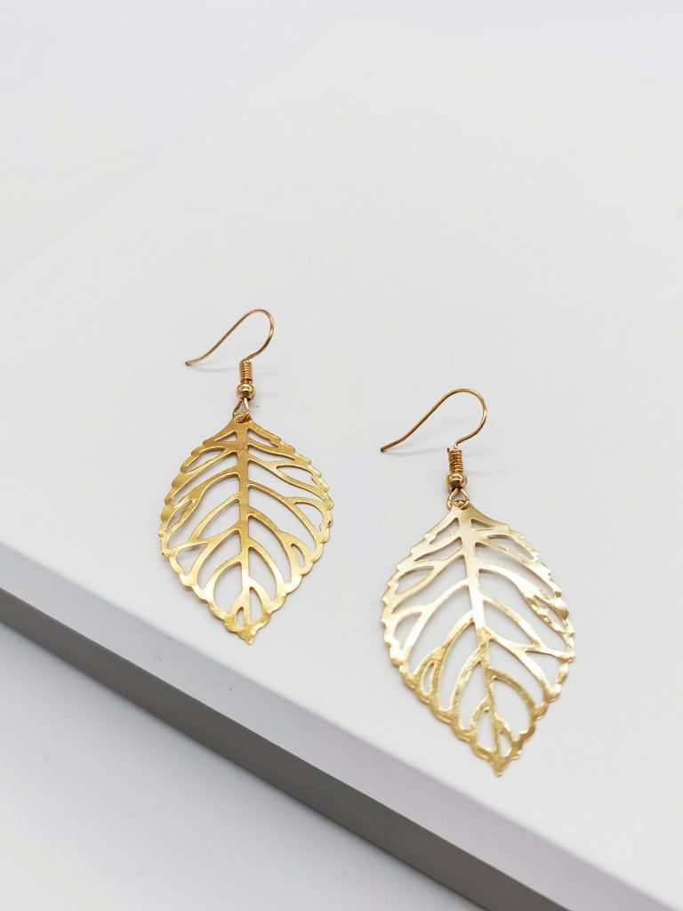 callel gold leaf hook earrings
