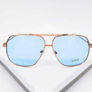Rose Gold Blue Lens Aviator Sunglasses