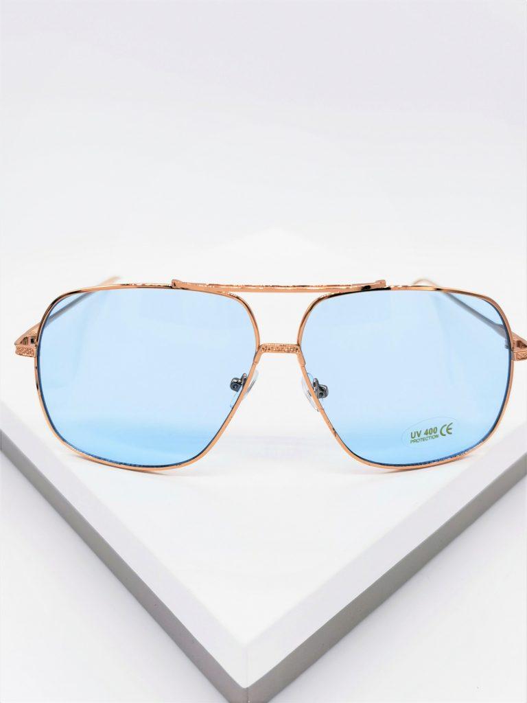 Callel Rose Gold Blue Lens Aviator Sunglasses
