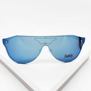 Blue Mirror Flat Top Shield Sunglasses