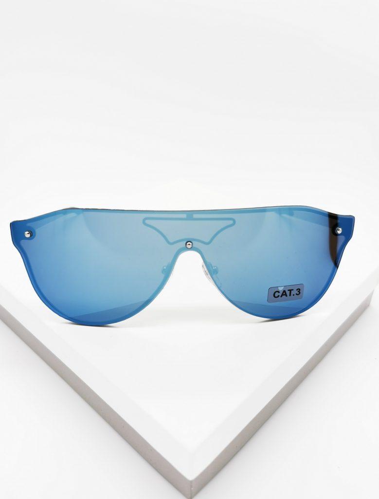 Callel Blue Mirror Flat Top Shield Sunglasses