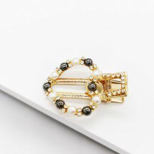 Heart Gold & Pearl Hair Clip