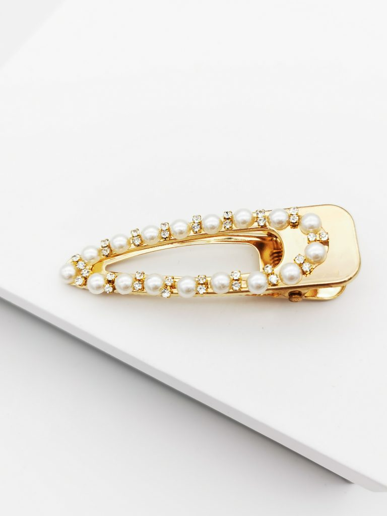 Callel Gold Cubic Zirconia & Pearl Oversize Hair Clip