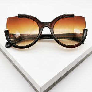 Round Circle Brown Oversized Sunglasses
