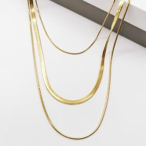 14K Gold 3 Layered Chain Celebrity Necklace