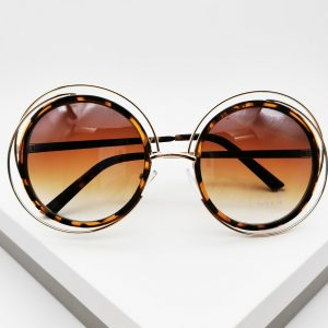 Cut-Out Detail Round Tortiose Print Sunglasses