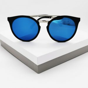 Round-Frame Acetate Blue Mirrored Sunglasses