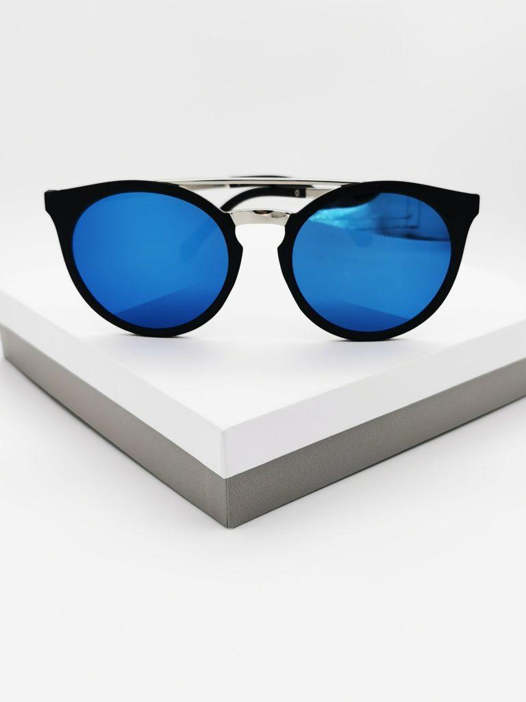 Callel Round-Frame Acetate Blue Mirrored Sunglasses