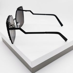 Black Mirrored Zig Zag Square Frame Sunglasses