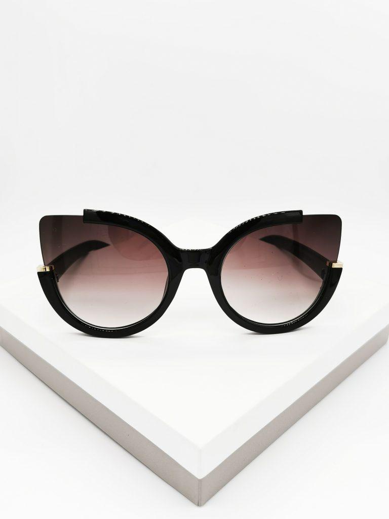 Callel Round Circle Black Oversized Sunglasses
