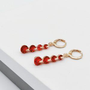 Rose Gold Red Cubic Zirconia Dangle Earrings