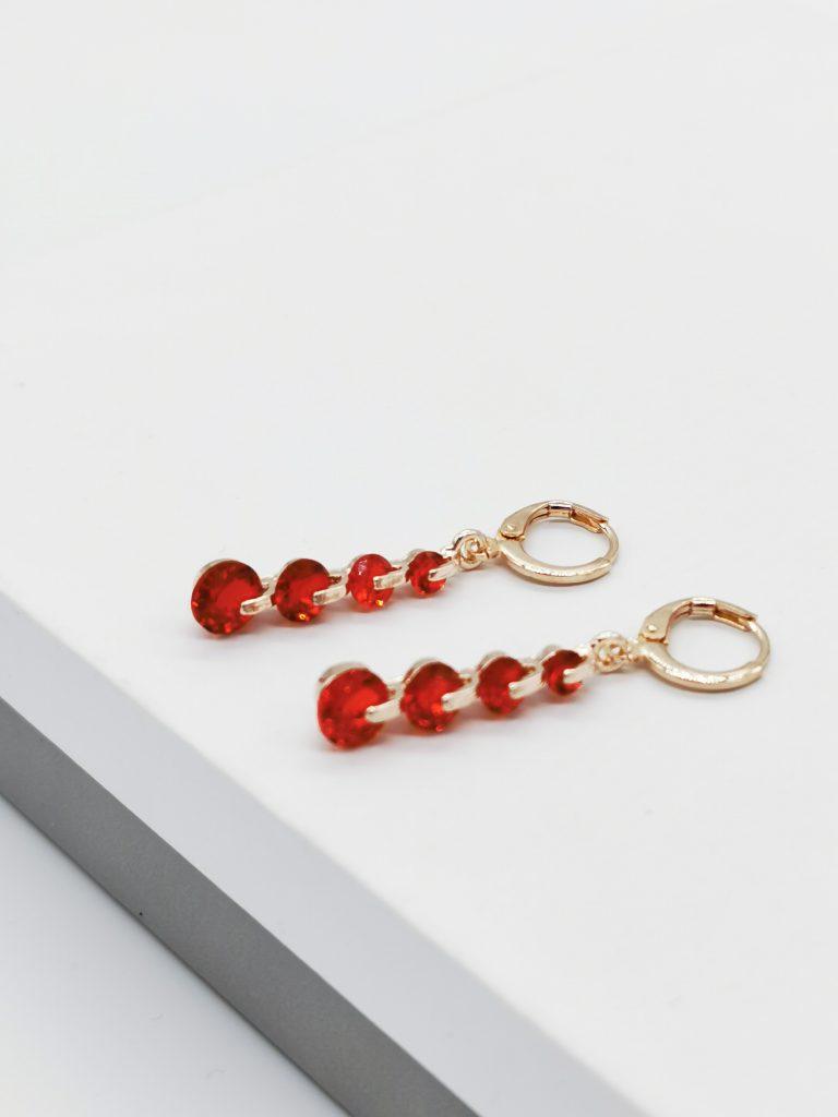 Callel Rose Gold Red Cubic Zirconia Dangle Earrings