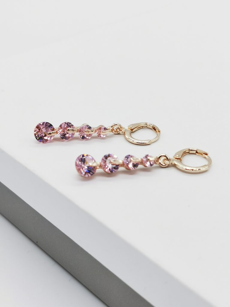 Callel Rose Gold Pink Cubic Zirconia Dangle Earrings