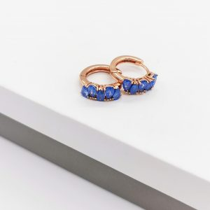 Rose Gold Blue Quartz Huggie Hoop Earrings