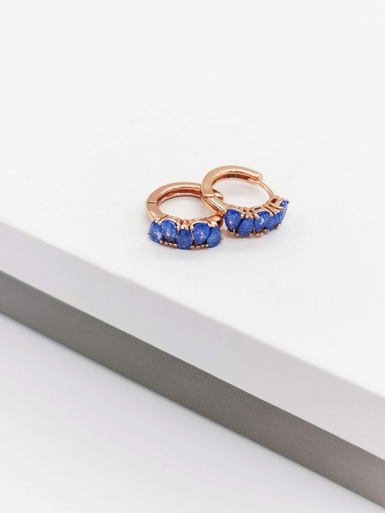 Callel Blue Quartz Huggie Hoop Earrings