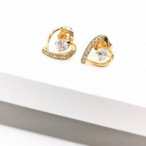 18K Gold Cubic Zirconia Heart Stud Earrings